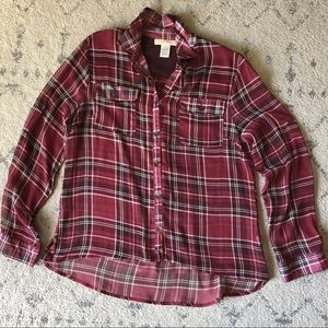 Band of Gypsies Sheer Plaid Top - Red